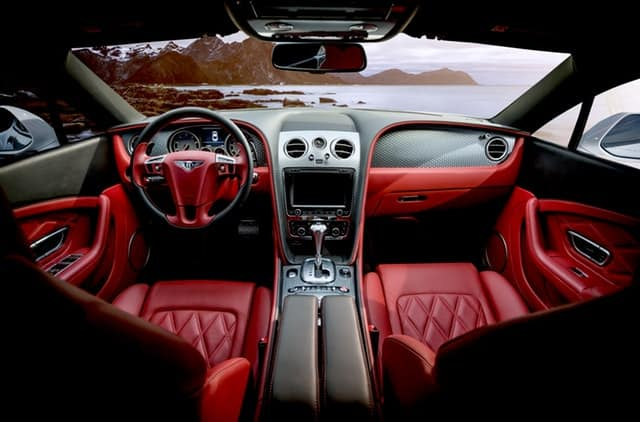 inside of a red car
