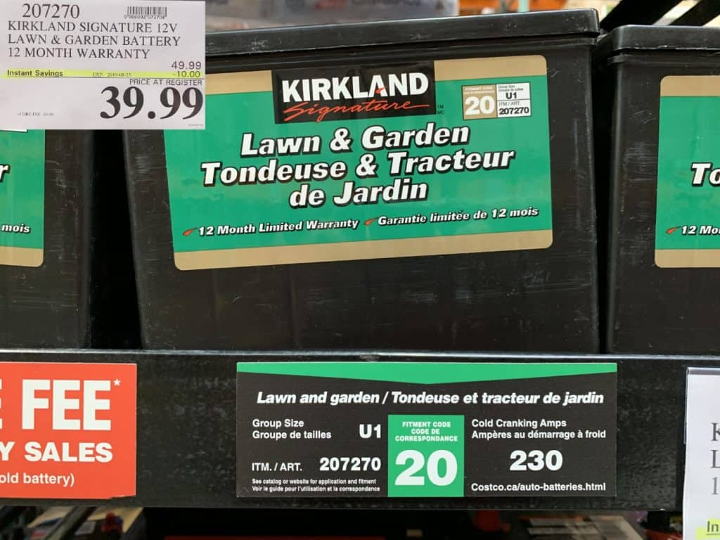 Kirkland Signature Lawn and garden battery